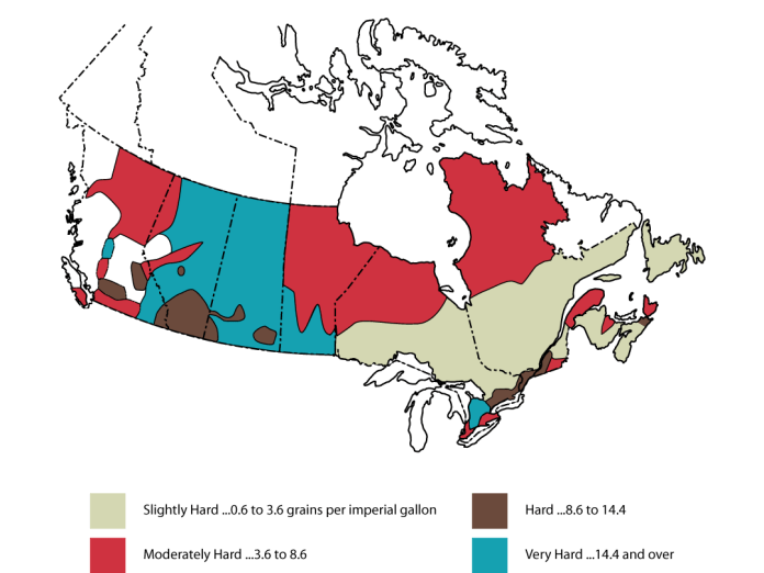 Map of water hardness in Canada