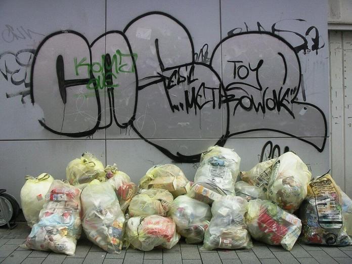 plastic garbage bags and graffiti