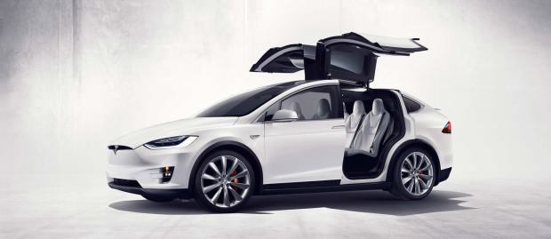 tesla model x white side