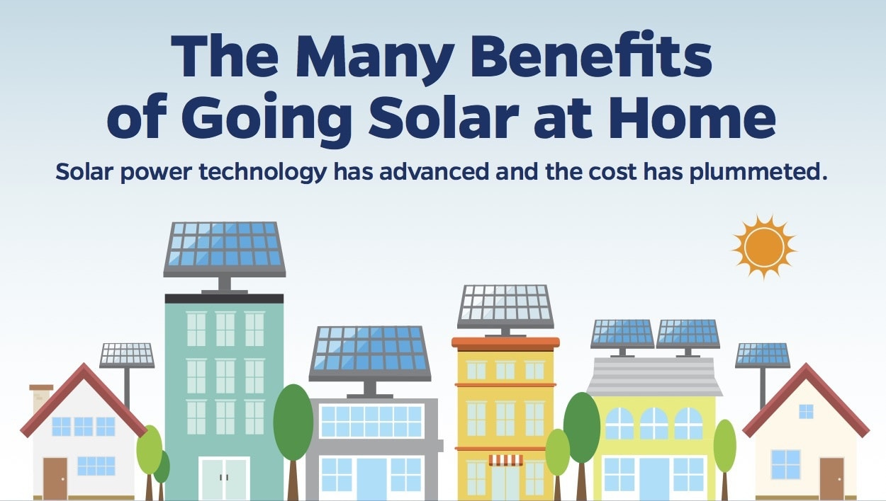 The Many Benefits Of Going Solar At Home Infographic: benefits of going solar
