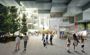 Ground level shopping of Bjarke Ingels sustainable architecture project in Toronto