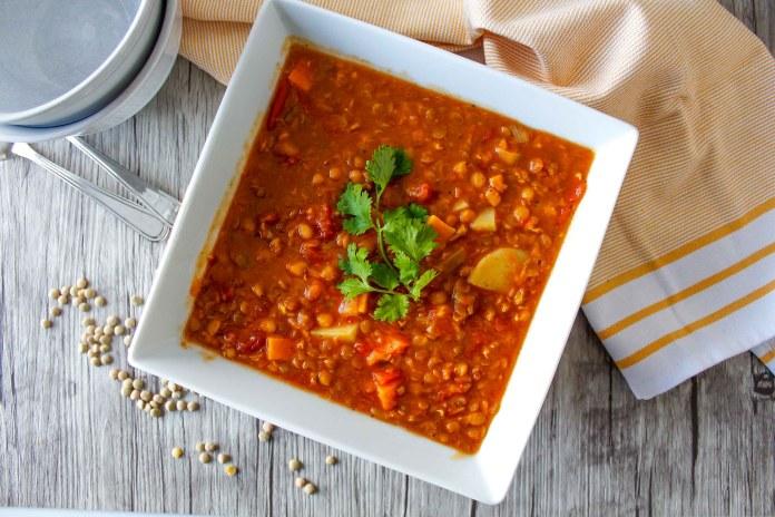vegan lentil and vegetable soup