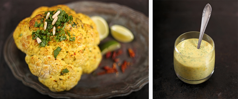 Spicy Whole Roasted Cauliflower with Coconut