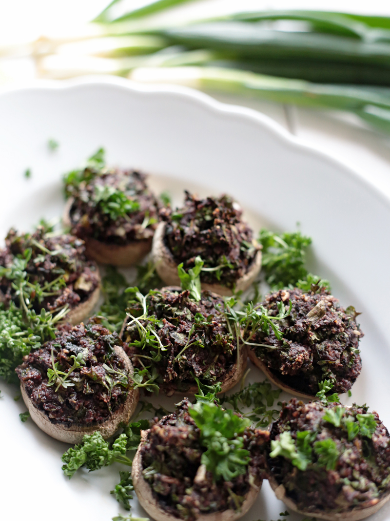 Pesto and Olive Stuffed Mushrooms
