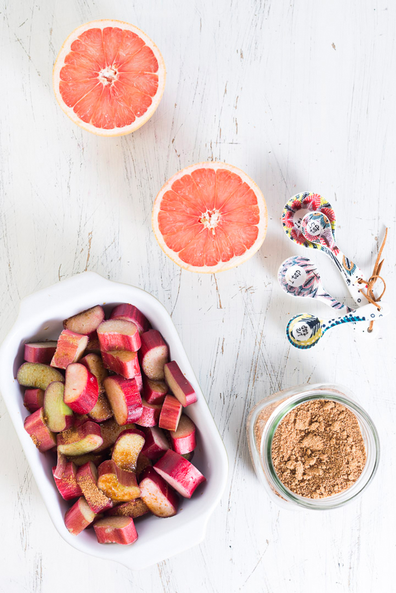 Overnight Oats with Rhubarb & Grapefruit Compote