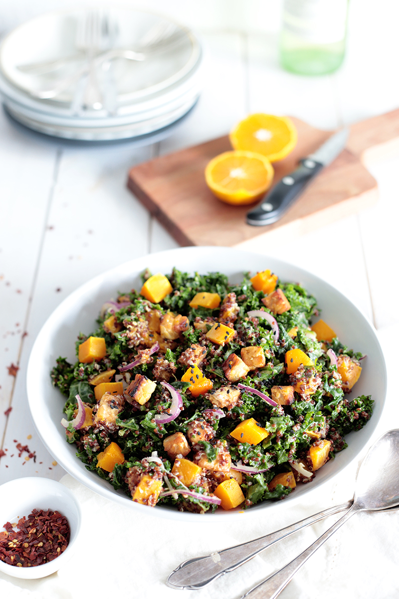 Quinoa, Pumpkin and Kale Salad with Tempeh