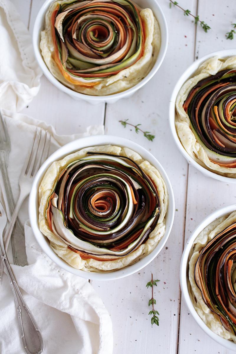 Vegan Spiral Vegetable Tarts