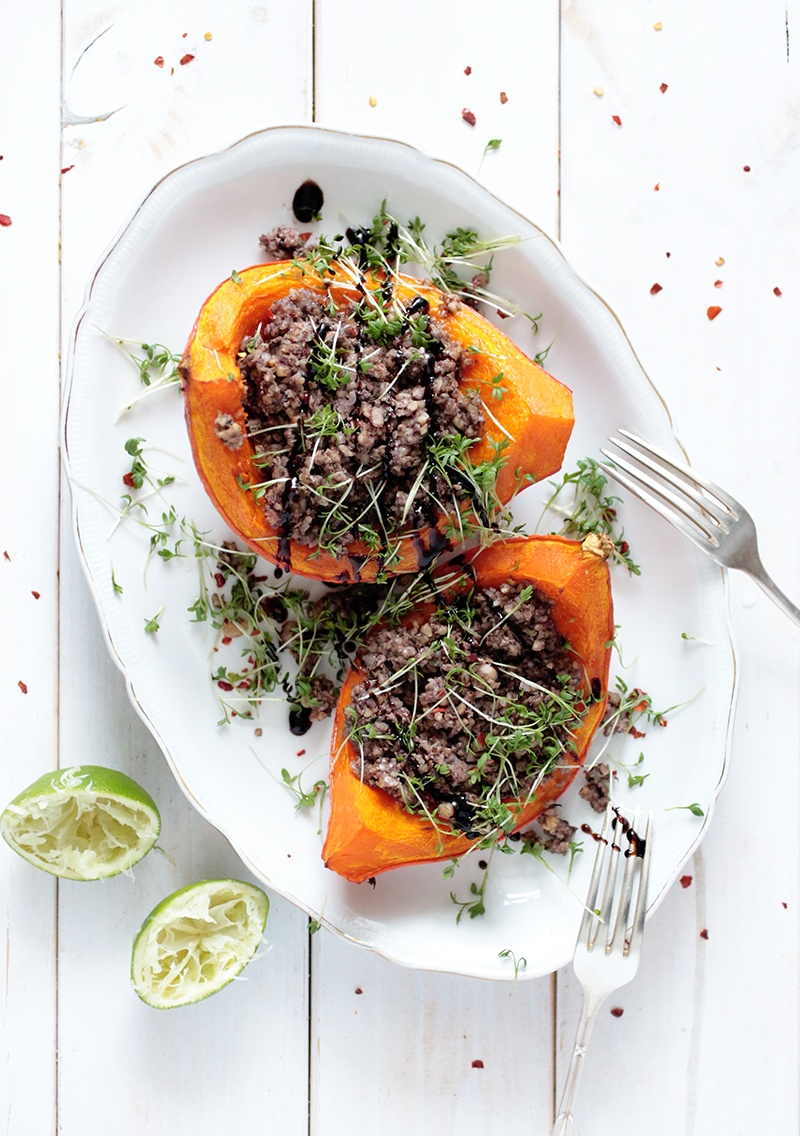 Stuffed Squash with Walnut and Beans