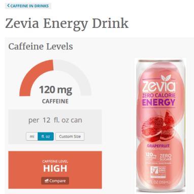 caffeine informer zevia zero energy
