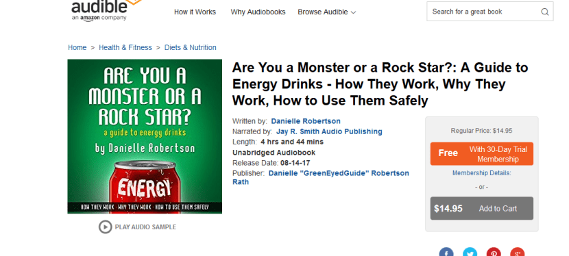 "The Energy Drink Guide is now on Audible! Listen to ""Are You a Monster or a Rock Star"" for FREE!"