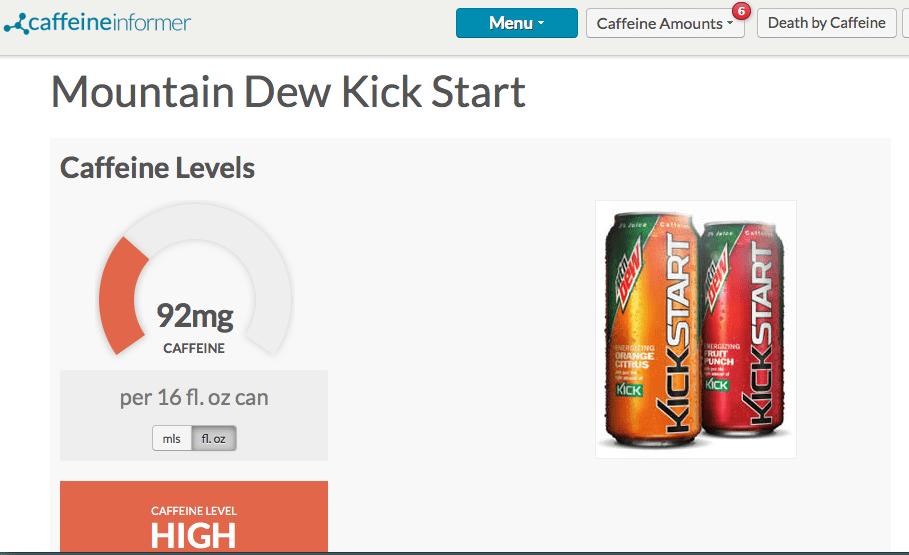 caffeine in mtn dew kickstart