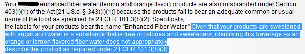 FDA defines water in warning letter 2011