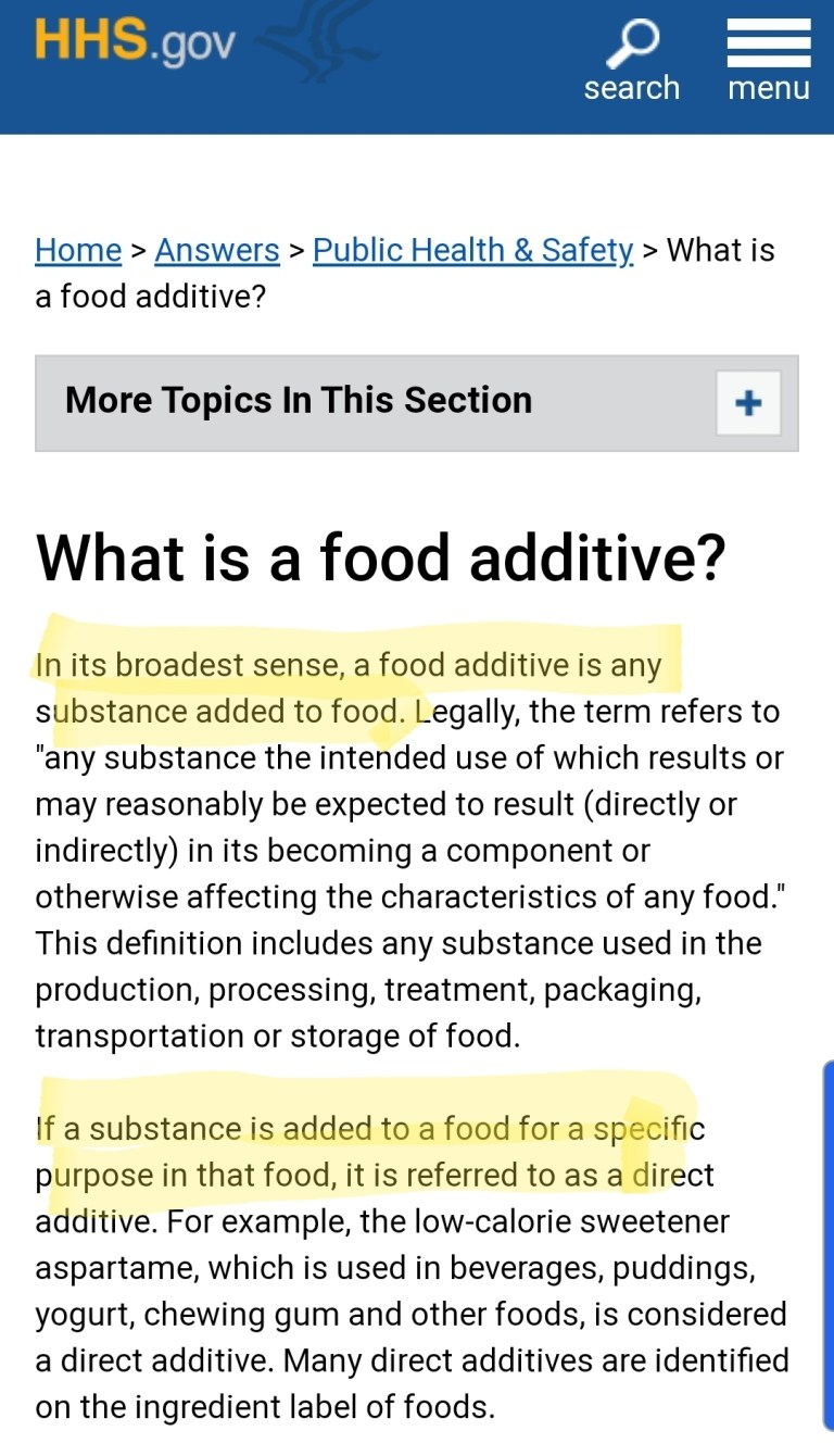 HHS clarifies the FDA definition for Additive