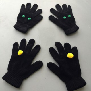 pomponized gloves