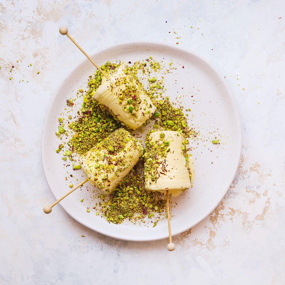 Saffron & pistachio ice cream kulfi