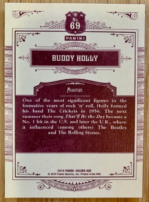 Buddy Holly trading card back view