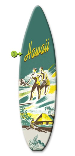 wood sign, surfing couple 12x44