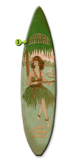 world of contentment surfboard wood sign 12x44 hawaii