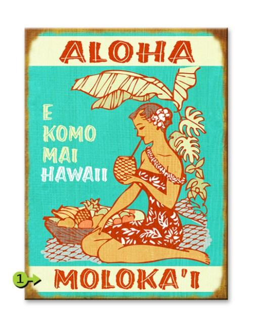 Aloha E Komo Mai Wood Sign