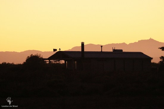 Sunrise over the eco-cabins at Rocherpan
