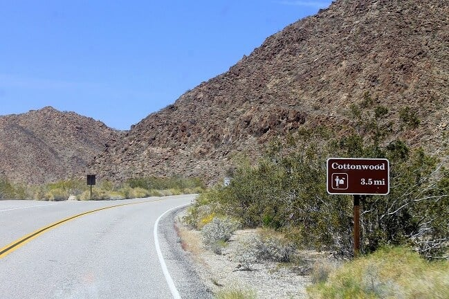 Cottonwood Visitor Center sign, near Los Palms Oasis Trail