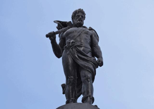 Statue of Norse God Thor in Stockholm, Sweden