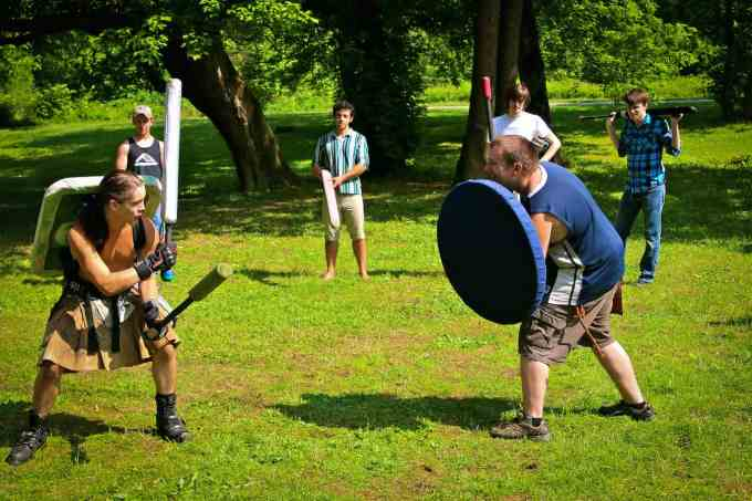 Two Asheville Medieval Collective Warriors Battle