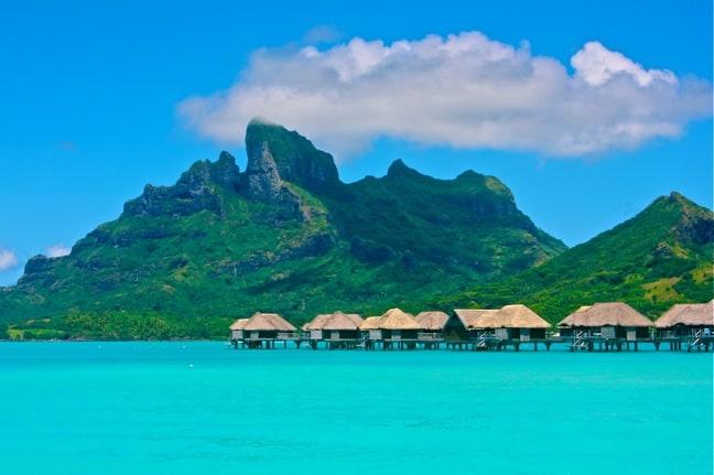 Over-water bungalows at the Four Seasons Resort, Bora Bora.