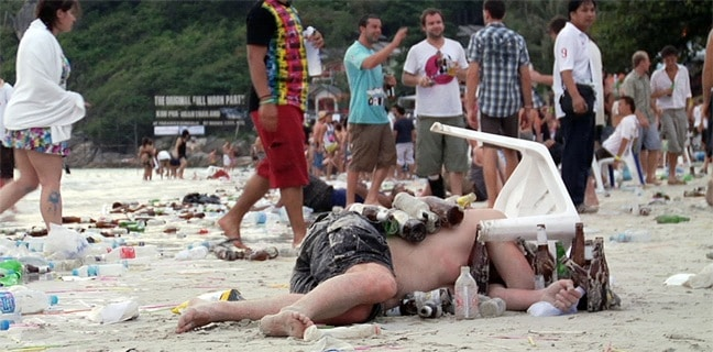 Aftermath of a Full Moon Party of Haad Rin Beach, Thailand via Gringo Trails