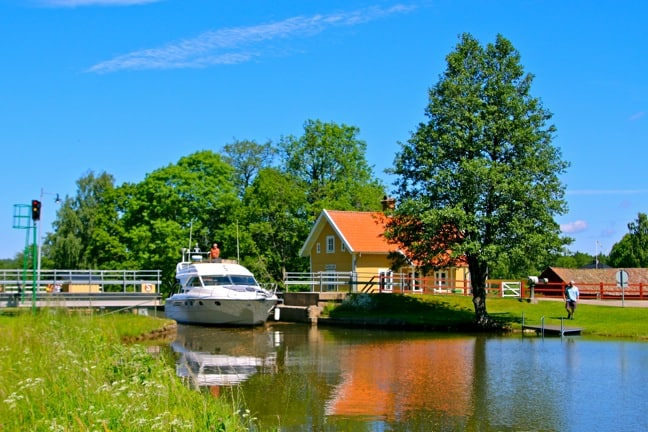 The Historic Lock House at the Norrqvarn Hotel in Lyrestad, Sweden