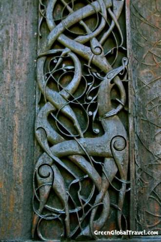 Detail of the North Wall of Urnes Stave Church, Norway