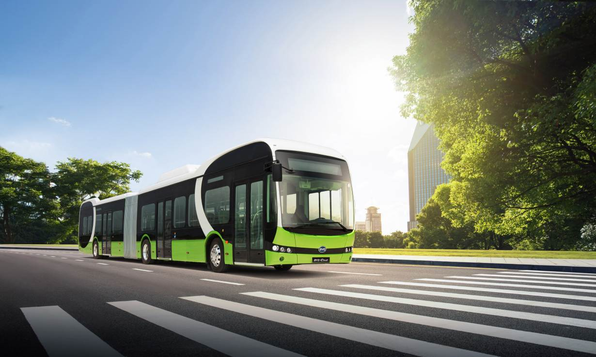 An electric bus made by Chinese e-vehicle manufacturer BYD is pictured on May 7, 2019. HANDOUT/BYD/Liu Wen