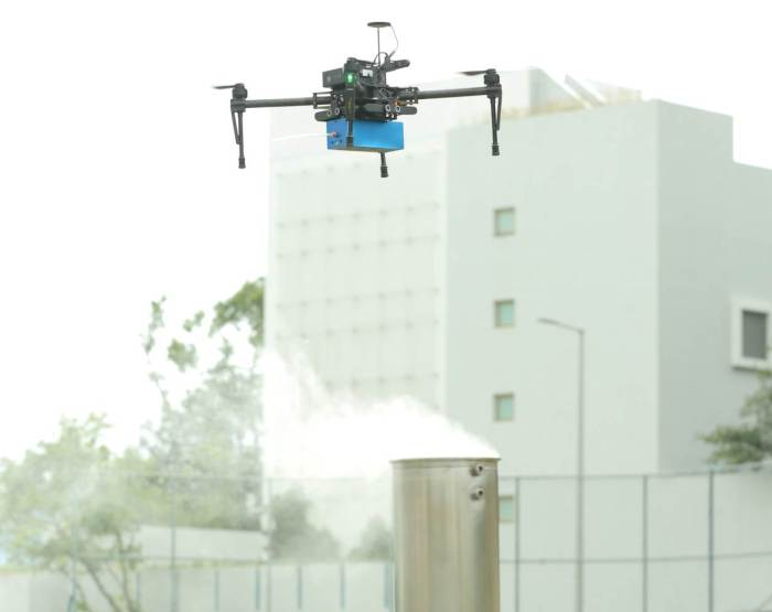An Unmanned Aerial Vehicle (UVA) shows how it uses air-sensing technology to screen for high sulphur fuel and measure emissions from ships, at Hong Kong University of Science and Technology (HKUST), Hong Kong, on January 31, 2019. HANDOUT/HKUST