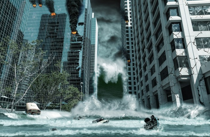 A cinematic portrayal of a city destroyed by Tsunami waves. Elements in this cityscape were carefully created, modified and manipulated to resemble a fictitious disaster scene.