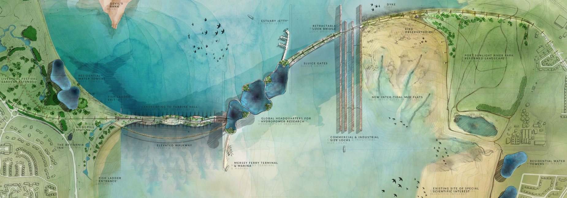 An illustration of the Mersey tidal barrage concept