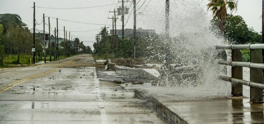 Water crashing over a road near Galveston Bay just outside of Houston, Texas during Hurricane Harvey in 2017. Photo by Eric Overton/iStock