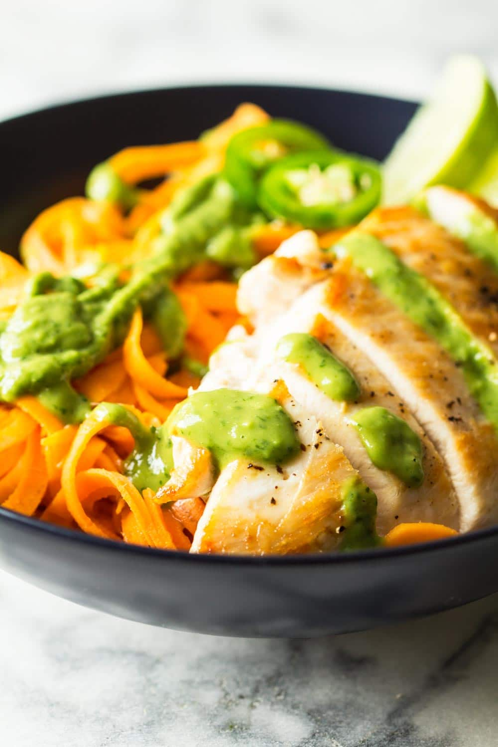 Yes, I claim that my Sweet Potato Noodles with Chicken and creamy Avocado Cilantro Sauce are THE BEST Sweet Potato Noodles Recipe you will try in your life!