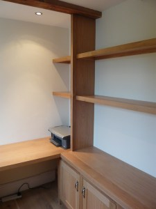 Corner study desk and shelves