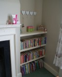 Painted alcove shelves