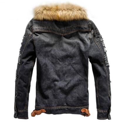 Casual Winter Thick Denim Retro Black Jacket