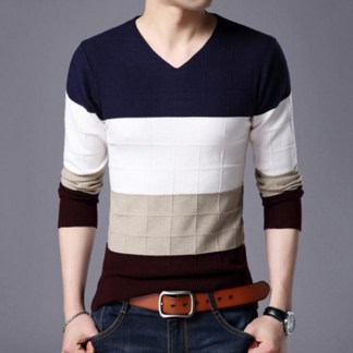 Geometric V-Neck Fashion Pullover available in 2 colors