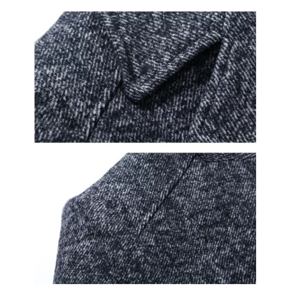 Medium Long Wool Jacket Detachable Scarf available in 2 colors