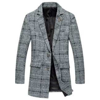 Middle Long Plaid Coat (Brown/Grey)