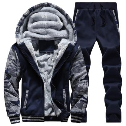 Warm Camouflage Sweatshirt + Pant Tracksuit (Black)