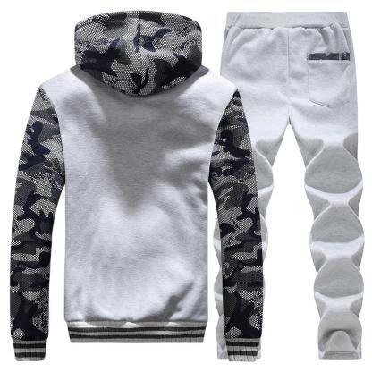 Warm Camouflage Sweatshirt + Pant Tracksuit Grey