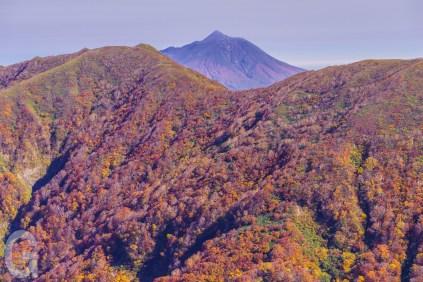 向白神岳越しに岩木山を望む