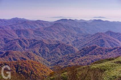 白神岳山頂から、白神山地を望む
