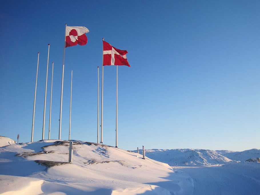 Greenland and Denmark flags