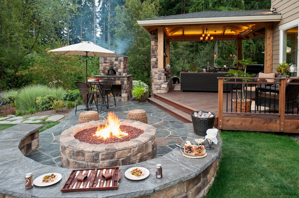 Paver Patio, Fire-Pit, Retainer Wall, Landscape Lighting ... on Paver Patio Designs With Fire Pit id=96890