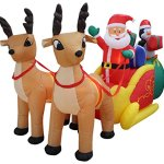 13-Foot-Long-Lighted-Christmas-Inflatable-Santa-Claus-and-Penguin-with-Gift-in-Sleigh-Pulled-by-2-Reindeer-Decoration-0-0
